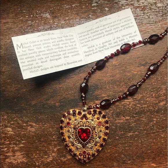 Michal golan jewelry large garnet heart necklace poshmark michal golan large garnet heart necklace aloadofball Choice Image